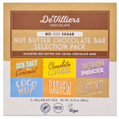 De Villiers Nut Butter Chocolate Bar Selection Box - No-Added-Sugar