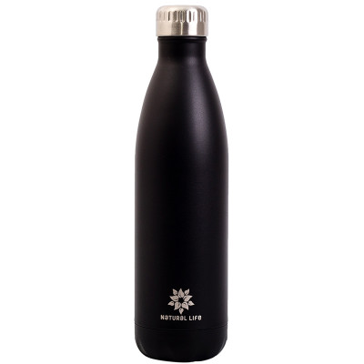 Natural Life Stainless Steel Double Wall Water Bottle - Black