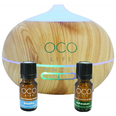 Organico by Oco Life Zen Light Wood Grain Ultrasonic Diffuser With Reawaken 10ml & Breathe 10ml