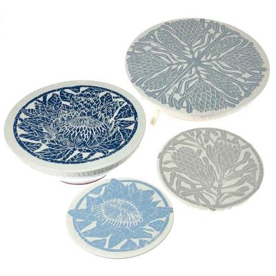 Spaza Dish Cover Set of 4 : Protea Print