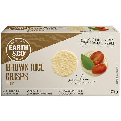 Earth & Co Brown Rice Crisps - Plain