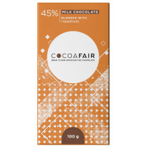 CocoaFair 45% Milk Chocolate with Hazelnuts,