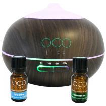 Organico by Oco Life Zen Dark Wood Grain Ultrasonic Diffuser With Reawaken 10ml & Breathe 10ml